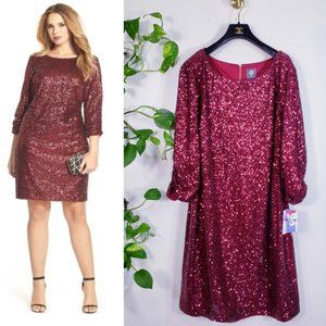 NWT Vince Camuto Wine Sparkle Sequins Dress 22W